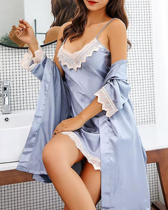 Satin Lace Trim Cami Dress & Robe Set