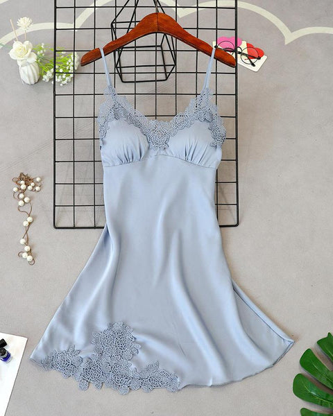 Satin Lace Underwire Chemise