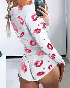 Long Sleeve Lip Print Lounge Romper