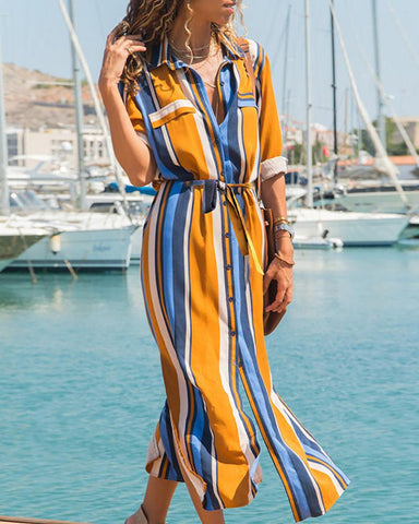 Colorful Striped Slit Shirt Dress