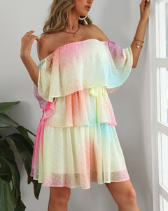 Off Shoulder Swiss Dot Ruffles Gradient Color Dress