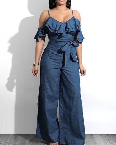 Layered Ruffles Belted Slip Denim Jumpsuit