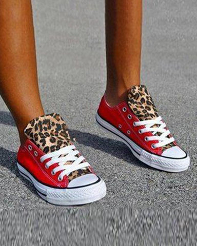 Colorblock Cheetah Canvas Sneakers