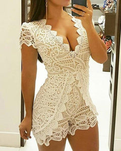 Sexy Crochet Lace Low Cut Slinky Romper