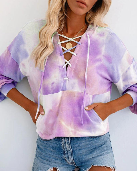 Tie Dye Long Sleeve Loose Lace Up Front Hoodies