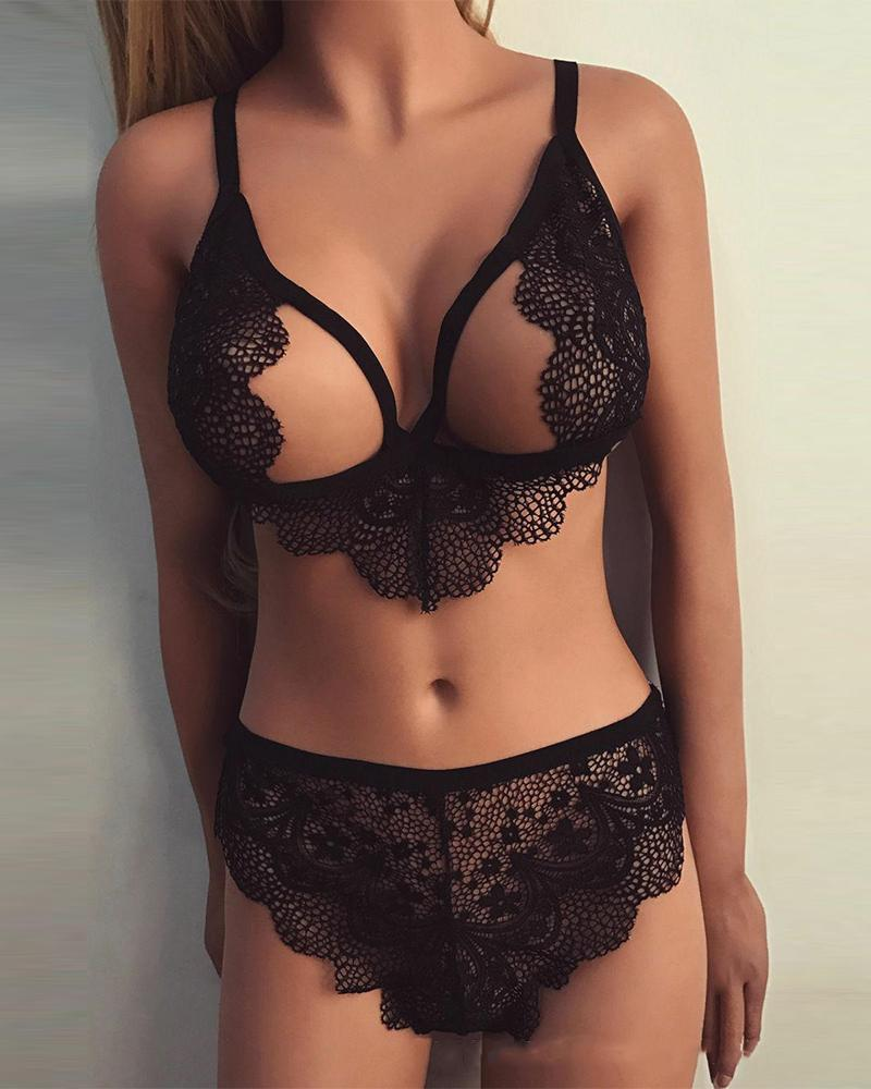Solid Cut-out Lace Patchwork Strap Bra With Panties Sexy Sets