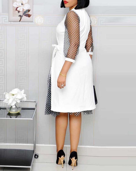 Polka Dot Print Deep V Neck Long Sleeve Work Dress