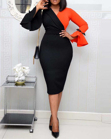 Colorblock Long Sleeve Work Dress
