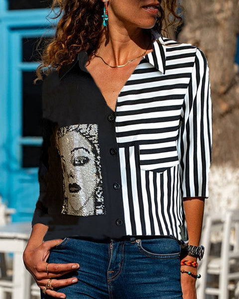 Graphic Striped Print V Neck Shirt