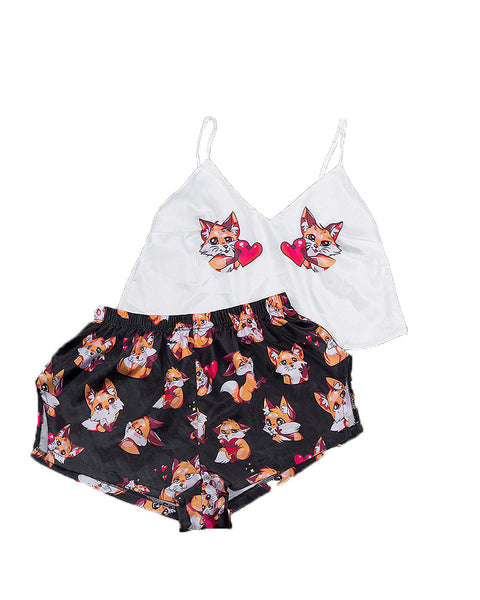 Cartoon Print Silk Sleeveless Tank Pajamas Sets