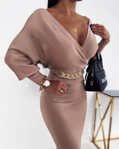 Chain Decor Batwing Sleeve Wrap Dress
