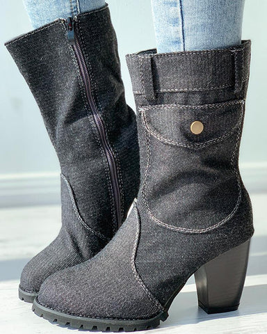 Button Decor Denim Chunky Boots