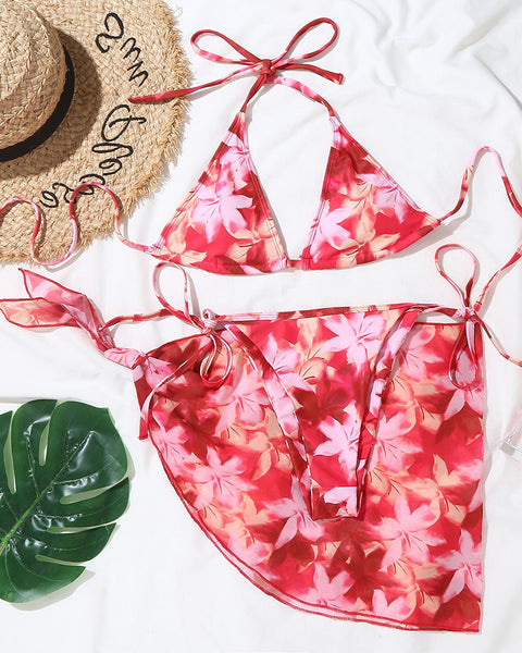 Floral Strappy Bra With Panties Bikini Sets