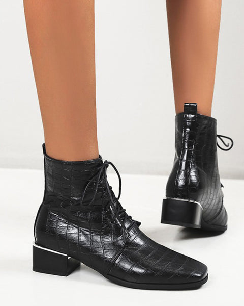 Lace-up Square-toe Solid Color Crocodile Pattern Ankle Boots