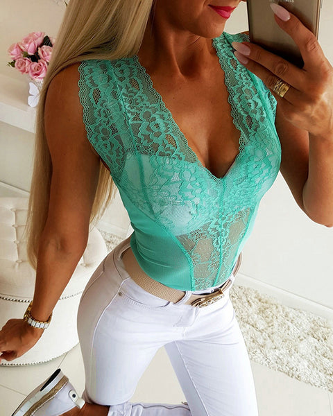 Sexy Sheer Mesh Lace  Bodysuit