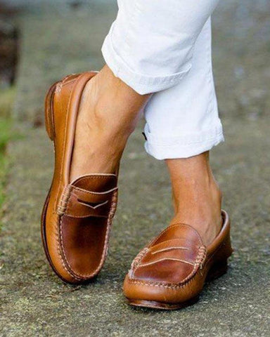 Vintage Faux Leather Loafers