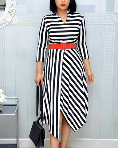 Striped Midi Dress With Belt