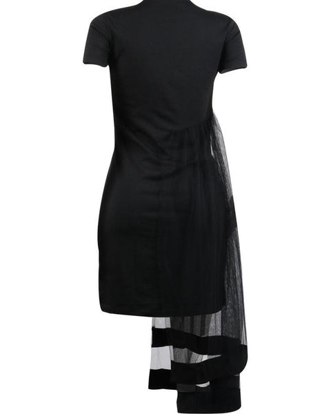 Short Sleeve Layered Mesh Design Dress