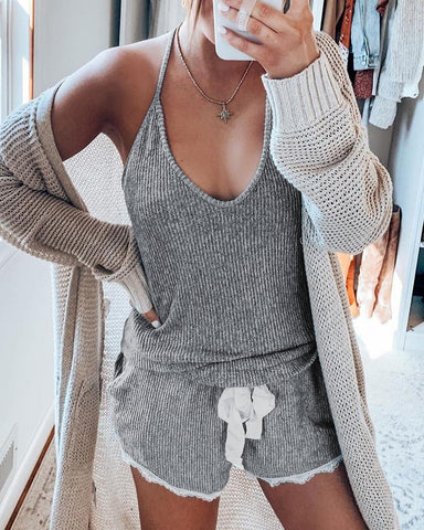Solid Halter Knitted Cami Set