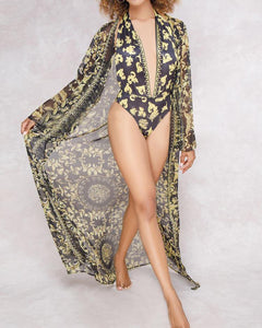 Fashion Print One-Piece Swimwear&Cover Up Set