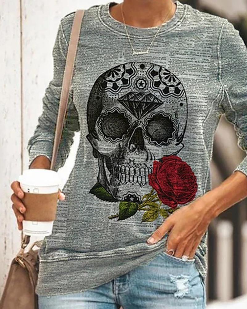 Halloween Skull Rose Print Long Sleeve Top