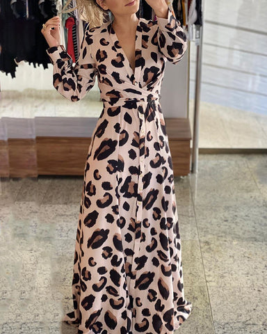 Cheetah Print Button Design Maxi Dress