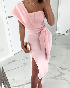 One Shoulder Slit Bandeau Party Dress