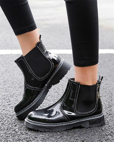 Polished Faux Leather Ankle Boots