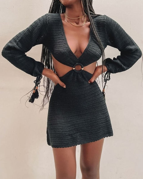 Solid Long Sleeve Cut-out Knitted Sweater Dress