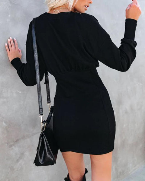 Solid Skinny Waist Long Sleeve Dress
