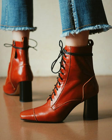 Solid Color Lace-up Square-toe Martin Boots