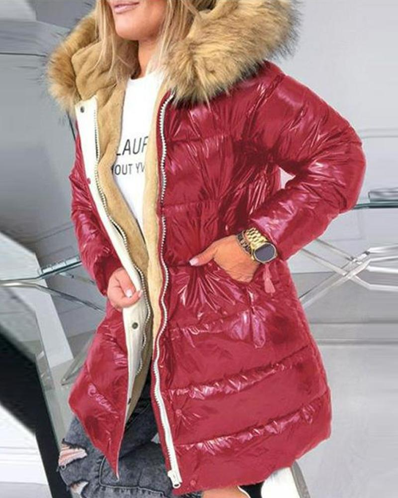 Colorblock Faux Fur Collar Long Sleeve PU Coats