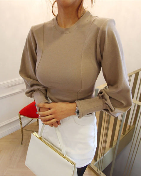 Plain Lantern Sleeve Casual Sweatshirt