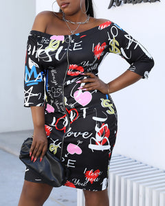Plus Size Letter Heart Print Zipper Front Dress