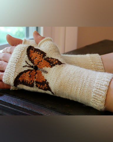 Butterflies Knitting Thermal Open-fingers Gloves