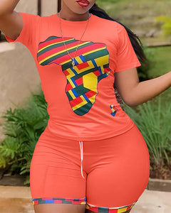 Graphic Print Colorblock T-shirt & Shorts Set