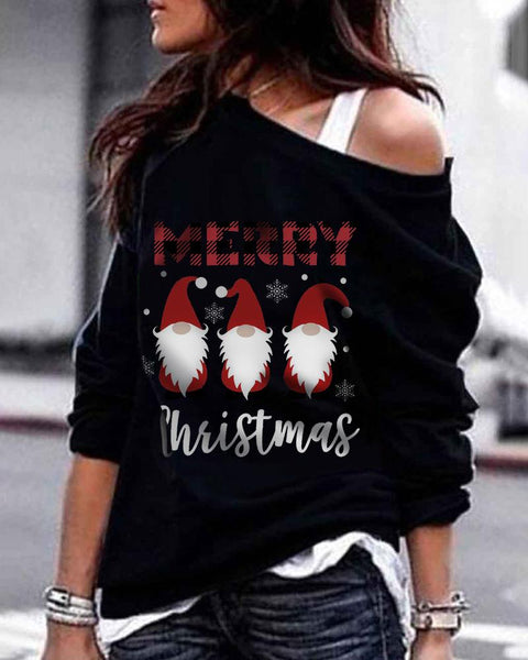 Christmas Letter Santa Print One Shoulder Sweatshirt