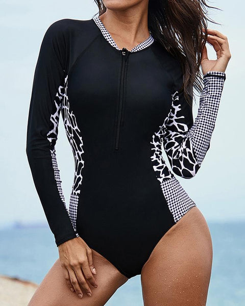 Mixed Print One Piece Rashguard Swimsuit