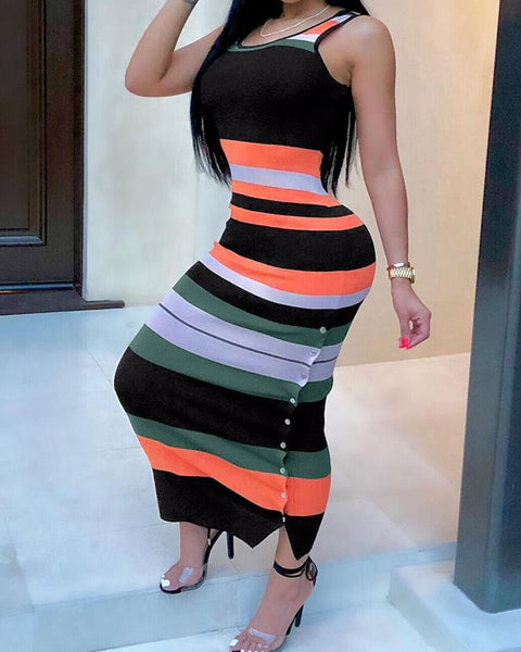 Contrast Striped Button Side Bodycon Dress