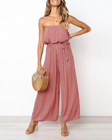 Spring strapless, high-waisted, loose striped, printed jumpsuit