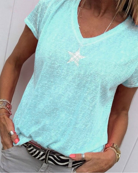 Star Print V-neck Casual T-shirt