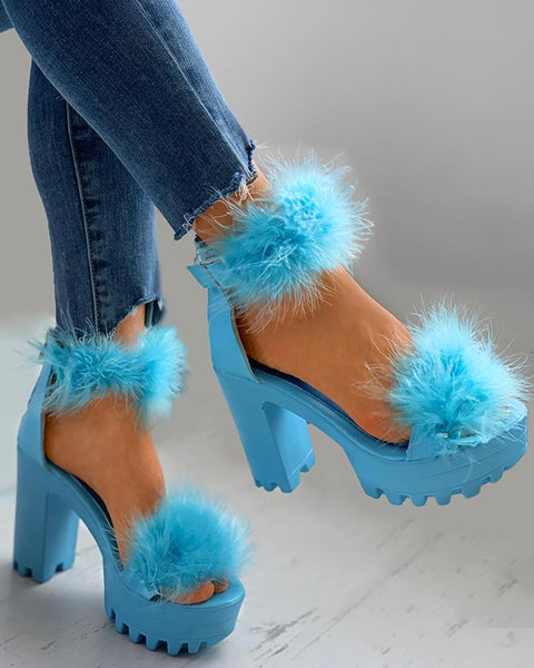 Fluffy Ankle Strap Chunky Heels