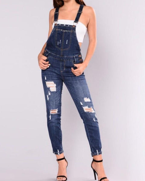 Plus Size Ripped Frayed Suspender Jeans