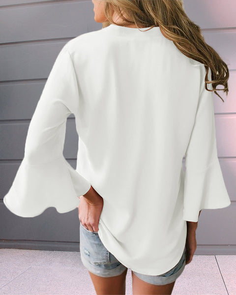 V-neck Bell Sleeve Solid Casual T-shirt