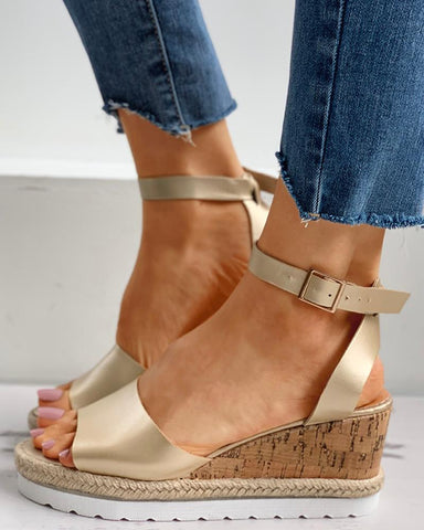 Woven Flax Ankle Strap Peep Toe Wedge Sandals