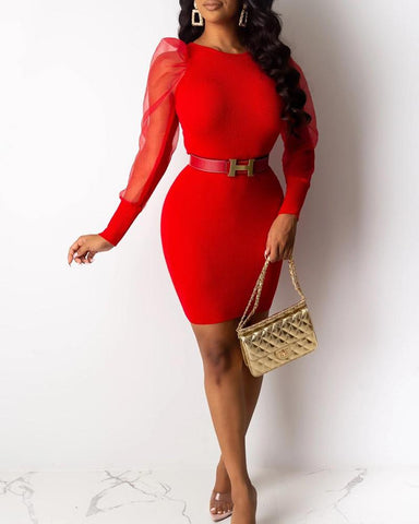 Mesh Sleeve Bodycon Mini Dress