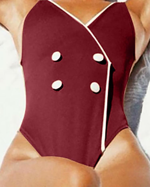 Double-Breasted Binding One-Piece Swimsuit