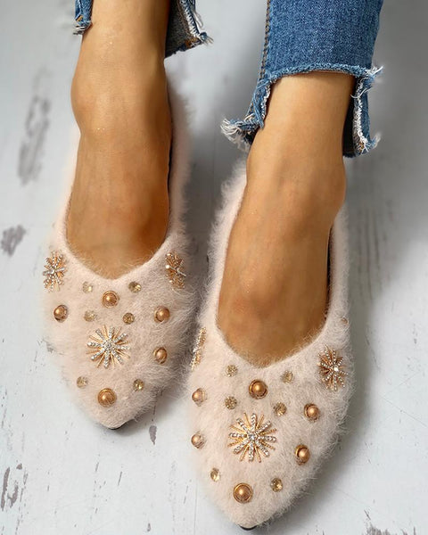 Studded Embellished Fluffy Flat Shoes