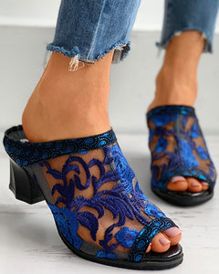 Floral Embroidery Sheer Mesh Chunky Heels