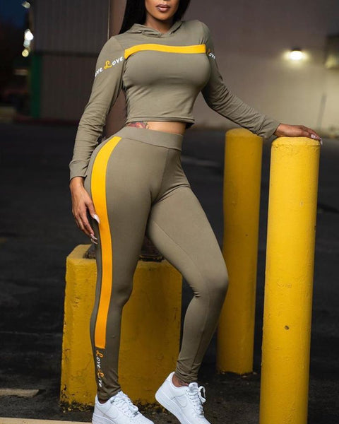 Color Block Long Sleeve Pants Sets